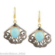 Yellow Gold Plated Silver Turquoise Stone Hook Earrings Womens Fashion Jewelry