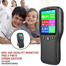 8in1 Air Quality Monitor Pm2.5 Pm10 Formaldehyde HCHO TVOC LCD Digital Detector