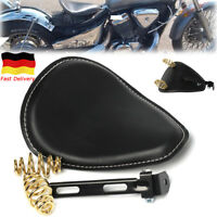 Motorrad Solo Sitz Schwingsattel Schwarz+Sitzfeder für Harley Sportster Bobber