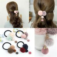 Elastic Colorful  Faux Fur Ball Hair Rope Ponytail Clamps Headwear Hair Curler