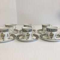 Futurist ADDERLEY England Bone China Coffee Tea Demitasse Set Black White Floral