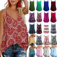 Womens Summer Loose Sleeveless Vest Tank Tops Casual T-Shirt Blouse Plus Size