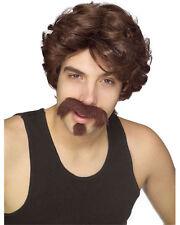 Big John Wig Moustache & Goatee Set  Brown Men's Wig Facial Hair 70's 80's Look