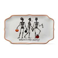Skeleton Where's The Party? Halloween party platter Ceramic by TAG