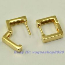 """Gold Gp Hoop Earring Square Solid Fill 48 pairs Wholesale 0.43"""" Real 18K Yellow"""