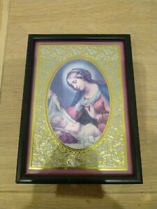 Vintage Virgin Mary And Jesus Picture 19cm X 14cm