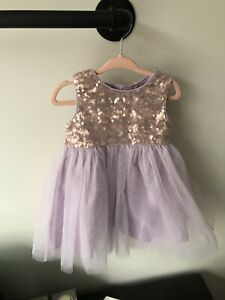 Gorgeous monsoon baby girl Lilac And Rose Gold Sequin dress 6-12 months