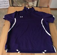 LADIES UNDER ARMOUR SIZE MEDIUM LOOSE PULLOVER SHIRT HEAT GEAR  FITTED PURPLE
