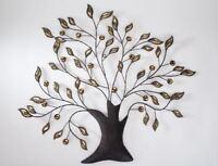 672223 Wanddeko Baum 68 x 66cm Blätter Amber aus dunklem Metall