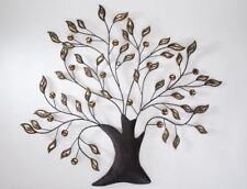 672223 décoration murale Arbre 68x66cm feuilles ambre de Sombre métal