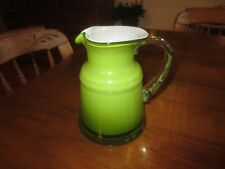 "White ENCASED GREEN Glass PITCHER or VASE w/Clear Handle - 6 1/2"" Tall"