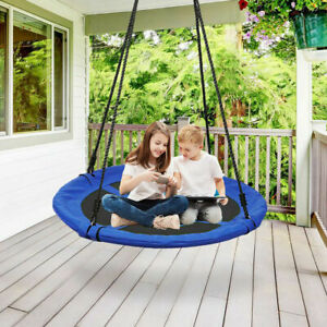 Heavy Duty Web/Saucer Kids Tree Swing Seat with Hanging Rope Chains Safe Secure