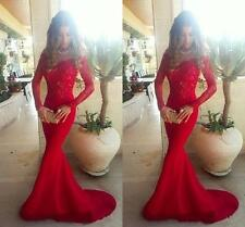 Lace Red Mermaid Long Sleeve Formal Evening Prom Gown Party Dresses Custom Size