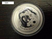 Perth Mint Australia $0.5 Lunar Series II Dragon 2012 1/2 oz .999 Silver Coin