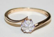 Pretty 9ct Gold Diamond Cross Over RIng 0.16cts Size N * Bargain *