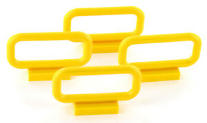 4 Stück LEGO 6187 Absperrung, Zaun, 1x4x2, gelb, NEU