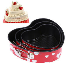 SN9F 3X Pans Bake Cake Mold Baking Tools with Removable Bottom Heart Shape Decor