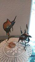 Decorative copper tone & Brass tone Dolphin Figurine Sculpture Statue, Swordfish