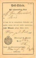 """SACHSEN 1866 Postschein der Königlich Sächs. Post für """"Ein Rekommandirter Brief"""""""