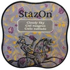 New STAZ-ON  Rubber stamp SOLVENT Ink pad CLOUDY SKY GRAY free US ship
