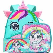 """Toddler Backpack, 12"""" Unicorn Sequin Preschool Bag and Lunch Box for Girls"""
