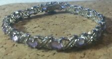 925 7 inch Sterling Silver Bracelet with oval cut Amethyst Gemstones
