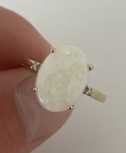 14ct Gold Opal And Diamond Large Heavy Ring