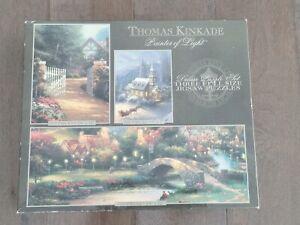 New Sealed 2002 Thomas Kinkade Painter of Light 3-Puzzle Deluxe Set Cottage