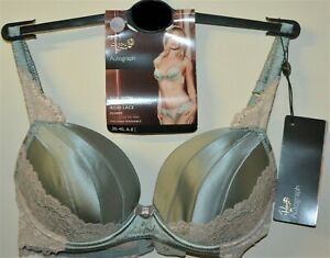 M&S AUTOGRAPH ROSIE SILK & LACE PADDED PLUNGE BRA SIZE 36A LIGHT GREEN - BNWT