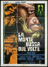 LA MORTE BUSSA DUE VOLTE 1° TIPO MANIFESTO CINEMA ADOLFO CELI EKBERG GIALLO 1971