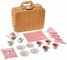 Butterfly Tea Set Basket Kids Girls Ceramic  Tea Party Toy Game, New