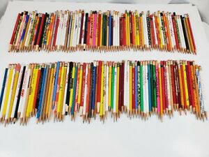 Vintage Lot of 155 Wooden Advertising Pencils Sharpened Mustang Scouts Wise Levi