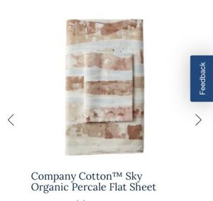 THE COMPANY STORE FULL DOUBLE SHEET SET SKY top Fitted organic cotton pink EUC