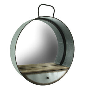 Zeckos Rustic Galvanized Metal Tub Frame Round Wall Mirror with Drawer
