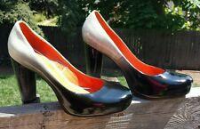 JEFFREY CAMPBELL Black Patent Leather Chunky Heels Sz 9