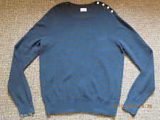AllSaints men's knit jumper size XXL, long sleeve crew neck grey/blue brand new