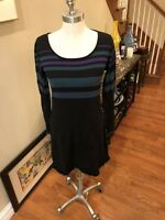 Ladies sz small/medium sweater dress in Black w/ Purple/Green stripes by Promod