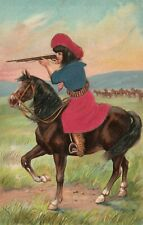 COWGIRL on HORSE SHOOTING EMBOSSED ANTIQUE POSTCARD  S. Langsdorf & Co.
