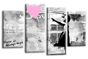 "BANKSY WALL ART GREY WHITE PINK GIRL BALLOON CANVAS ABSTRACT SPLIT 44 x 27"""