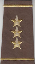 2  Police Chief/Sheriff  Epaulet THREE (3) STARS Shoulder Boards Gold on Brown