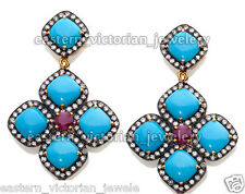 Gemstone Studded Silver Earring Jewelry Victorian 3.90cts Pave Rose Cut Diamond