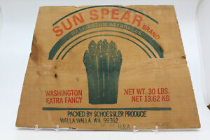 Wooden Produce Crate Label END Sun Spear Brand Asparagus for Display