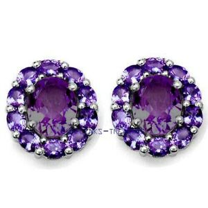 Natural Amethyst  Gemstones with 925 Sterling Silver Cufflinks For Men's