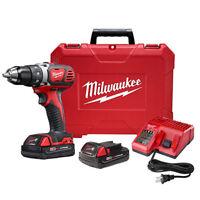"Milwaukee M18 18V Li-Ion Compact 1/2"" Drill/Driver Kit 2606-22CT New"