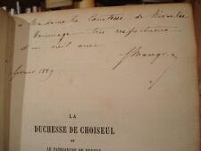 G. MAUGRAS La duchesse de Choiseul et le patriarche de Ferney 1889 E.O. Envoi