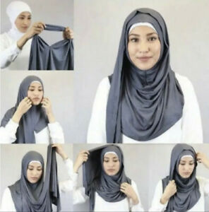 Hijab One Piece Jersey Ready Made Pull on Scarf Instant Stretchy Headscarf