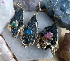 Black Kyanite Slice Pendant Necklace with Druzy Agate