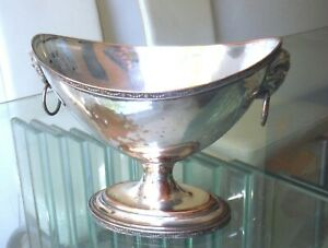 VICTORIAN SILVER ON COPPER OVAL COMPORT - RAM'S HEAD MOUNTS