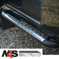 LAND ROVER DEFENDER 90 SIDE STEPS BLACK WITH CHEQUER PLATE TOP. PART DA7012