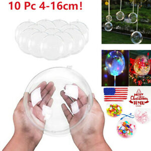 10x Clear Plastic Ball Baubles Sphere Fillable Christmas Ornament Craft Gi  NEW